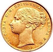 Australia One Sovereign Victoria 1855 KM# 2 VICTORIA D: G: BRITANNIAR: REGINA: F: D: 1855 coin obverse