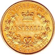 Australia One Sovereign Victoria 1855 KM# 2 SYDNEY MINT AUSTRALIA ONE SOVEREIGN coin reverse