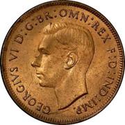 Australia Penny Kangaroo 1939 (m) KM# 36 GEORGIVS VI D:G:BR: OMN: REX F.D: IND: IMP coin obverse