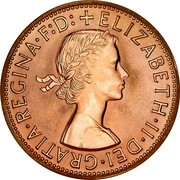 Australia Penny Kangaroo 1961 (p) Proof KM# 56 + ELIZABETH ∙ II ∙ DEI ∙ GRATIA ∙ REGINA F:D: coin obverse