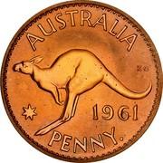 Australia Penny Kangaroo 1961 (p) Proof KM# 56 AUSTRALIA KG *YEAR* PENNY. coin reverse