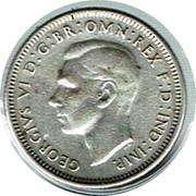 Australia Shilling George VI 1944 KM# 39 GEORGIVS VI D:G:BR:OMN:REX F:D:IND:IMP. HP coin obverse