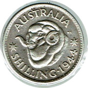 Australia Shilling George VI 1944 KM# 39 AUSTRALIA KG *SHILLING∙1940* coin reverse