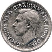 Australia Shilling George VI 1952 KM# 46 GEORGIVS VI D:G:BR:OMN:REX FIDEI DEF. HP coin obverse