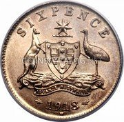 Australia Sixpence Coat of Arms 1918 KM# 25 SIXPENCE ADVANCE AUSTRAILA *YEAR* coin reverse