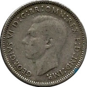 Australia Sixpence Coat of Arms 1946 KM# 38a GEORGIVS VI D:G:BR:OMN:REX F:D:IND:IMP. HP coin obverse