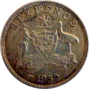 Australia Sixpence Coat of Arms 1952 KM# 45 SIXPENCE ADVANCE AUSTRALIA PL *YEAR* coin reverse