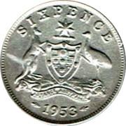 Australia Sixpence Coat of Arms 1953 KM# 52 SIXPENCE ADVANCE AUSTRALIA 1954 coin reverse