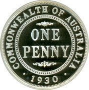 Australia Ten Cents Masterpieces in Silver 1999 KM# 482 COMMONWEALTH OF AUSTRALIA ONE PENNY 1930 coin reverse