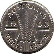 Australia Three Pence Wheat Fields of Gold 1943 KM# 37 AUSTRALIA *YEAR* K G THREE PENCE coin reverse