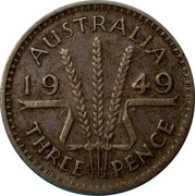 Australia Three Pence Wheat Fields of Gold 1949 KM# 44 AUSTRALIA *YEAR* K G THREE PENCE coin reverse