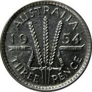 Australia Three Pence Wheat Fields of Gold 1954 KM# 51 AUSTRALIA *YEAR* K G THREE PENCE coin reverse