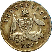 Australia Threepence Coat of Arms 1924 KM# 24 THREEPENCE ADVANCE AUSTRALIA *YEAR* coin reverse