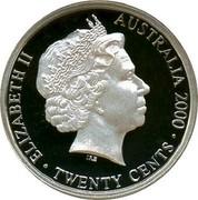 Australia Twenty Cents Masterpieces in Silver - Twentieth Century Monarchs 2000 KM# 497 ELIZABETH II AUSTRALIA 2000 TWENTY CENTS IRB coin obverse