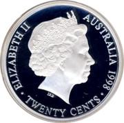 Australia Twenty Cents Parliament House 1998 KM# 410 ELIZABETH II AUSTRALIA 1998 TWENTY CENTS IRB coin obverse