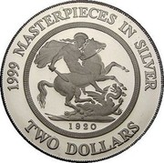 Australia Two Dollars Masterpieces in Silver - 1920 Sydney sovereign 1999 KM# 486 1999 MASTERPIECES IN SILVER 1920 TWO DOLLARS coin reverse