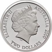 Australia Two Dollars Masterpieces in Silver - Twentieth Century Monarchs 2000 KM# 500 ELIZABETH II AUSTRALIA 2000 TWO DOLLARS IRB coin obverse