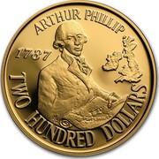 Australia Two Hundred Dollars Arthur Phillip 1987 KM# 94 ARTHUR PHILLIP 1787 PORTSMOUTH TWO HUNDRED DOLLARS HH coin reverse