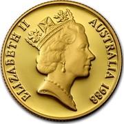 Australia Two Hundred Dollars Bicentennial of Australia 1988 KM# 115 ELIZABETH II AUSTRALIA 1988 RDM coin obverse
