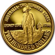Australia Two Hundred Dollars Bicentennial of Australia 1988 KM# 115 AUSTRALIA - TWO HUNDRED YEARS SYDNEY COVE 1788 TWO HUNDRED DOLLARS HH coin reverse