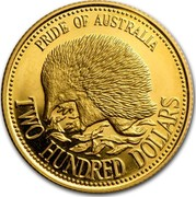 Australia Two Hundred Dollars Pride of Australia - Echidna 1992 KM# 259 PRIDE OF AUSTRALIA TWO HUNDRED DOLLARS coin reverse