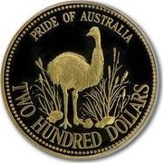 Australia Two Hundred Dollars Pride of Australia Emu 1991 KM# 160 PRIDE OF AUSTRALIA TWO HUNDRED DOLLARS coin reverse