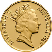 Australia Two Hundred Dollars (Pride of Australia - Frilled-Neck Lizard) KM# 116 ELIZABETH II AUSTRALIA 1989 RDM coin obverse