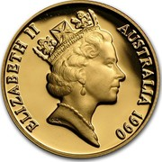 Australia Two Hundred Dollars Pride of Australia - Platypus 1990 KM# 135 ELIZABETH II AUSTRALIA 1990 RDM coin obverse