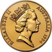 Australia Two Hundred Dollars (Pride of Australia - Tasmanian Devil) KM# 262 ELIZABETH II AUSTRALIA 1994 RDM coin obverse