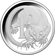 Australia 1 Cent Feather-Tailed Glider 2016 KM# 767a 1 SD coin reverse