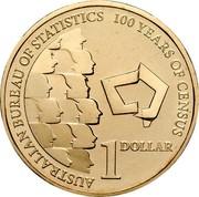 Australia 1 Dollar 100 Years of Census 2011 KM# 1635 AUSTRALIAN BUREAU OF STATISTICS 100 YEARS OF CENSUS 1 DOLLAR coin reverse