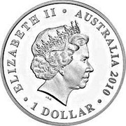 Australia 1 Dollar 100th Anniversary of Australian Commonwealth Silver Coinage 2010 KM# 1383 ELIZABETH II AUSTRALIA 2010 1 DOLLAR IRB coin obverse
