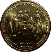 Australia 1 Dollar 100th Anniversary of Pension 2009 KM# 1498 CENTENARY OF COMMONWEALTH AGE PENSION 1 DOLLAR SECURITY-SUPPORT-DIGNITY coin reverse