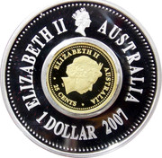 Australia 1 Dollar 12 Lunar figures 2007 P Proof KM# 1011 ELIZABETH II AUSTRALIA 1 DOLLAR coin obverse