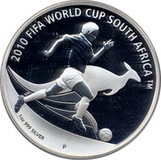 Australia 1 Dollar 2010 FIFA World Cup 2009 KM# 1245 2010 FIFA WORLD CUP SOUTH AFRICA ™ 1 OZ 999 SILVER P WR coin reverse