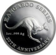 Australia 1 Dollar 20th Anniversary Kangaroo Series 2013 KM# 2023 KANGAROO SERIES 20TH ANNIVERSARY 1 OZ .999 AG HH coin reverse