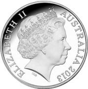Australia 1 Dollar 40th Anniversary of Sydney Opera House 2013 KM# 2150 ELIZABETH II AUSTRALIA 2013 IRB coin obverse