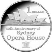 Australia 1 Dollar 40th Anniversary of Sydney Opera House 2013 KM# 2150 1 DOLLAR 40TH ANNIVERSARY OF SYDNEY OPERA HOUSE coin reverse