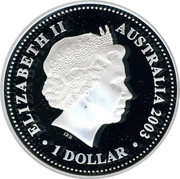 Australia 1 Dollar 50th Anniversary of Coronation 2003 KM# 823 ELIZABETH II AUSTRALIA 2003 1 DOLLAR IRB coin obverse