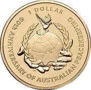 Australia 1 Dollar 60th Anniversary of Australian Peacekeeping 2007 KM# 1042 60TH ANNIVERSARY OF AUSTRALIAN PEACEKEEPING 1 DOLLAR CG coin reverse