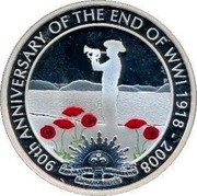 Australia 1 Dollar 90th Anniversary - End of WWI 2008 KM# 1179 90TH ANNIVERSARY OF THE END OF WWI 1918-2008 AUSTRALIAN COMMONWEALTH MILITARY FORCES P coin reverse