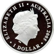 Australia 1 Dollar 90th Anniversary Gallipoli Landings 2005 KM# 833 ELIZABETH II AUSTRALIA 2005 1 DOLLAR IRB coin obverse