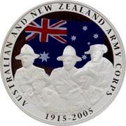 Australia 1 Dollar 90th Anniversary Gallipoli Landings 2005 KM# 833 AUSTRALIAN AND NEW ZEALAND ARMY CORPS 1915-2005 1 OZ 999 SILVER P SB coin reverse