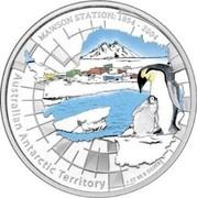 Australia 1 Dollar Australian Antarctic Territory - Mawson Station 2004 KM# 737 AUSTRALIAN ANTARCTIC TERRITORY MAWSON STATION: 1954-2004 1 OZ 99.9 SILVER P coin reverse