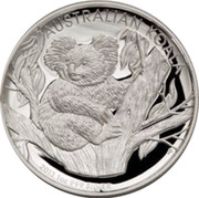 Australia 1 Dollar Australian Koala 2013 KM# 2050 AUSTRALIAN KOALA 2013 1 OZ 999 SILVER P TV coin reverse