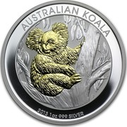 Australia 1 Dollar Australian Koala (Gilded) 2013 KM# 1979a AUSTRALIAN KOALA 2013 1 OZ 999 SILVER P TV coin reverse