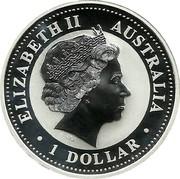 Australia 1 Dollar Australian Kookaburra 2001 P KM# 691.1 ELIZABETH II AUSTRALIA 1 DOLLAR IRB coin obverse