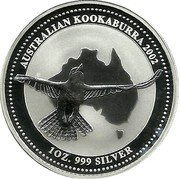 Australia 1 Dollar Australian Kookaburra 2001 P KM# 691.1 AUSTRALIAN KOOKABURRA 2002 1 OZ. 999 SILVER P coin reverse