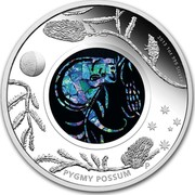 Australia 1 Dollar Australian Opal Series - The Pygmy Possum 2013 KM# 2062 PYGMY POSSUM 2013 1 OZ 999 SILVER P AH coin reverse