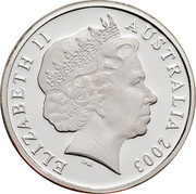 Australia 1 Dollar Australian Volunteers 2003 KM# 690a ELIZABETH II AUSTRALIA 2003 IRB coin obverse